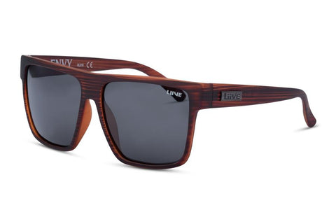 Liive Envy Matt Wood Polarised Sunglasses (Grey Lens)