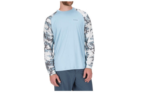 Simms SolarFlex Long Sleeve Crewneck Hex Flo Camo Grey Blue Shirt