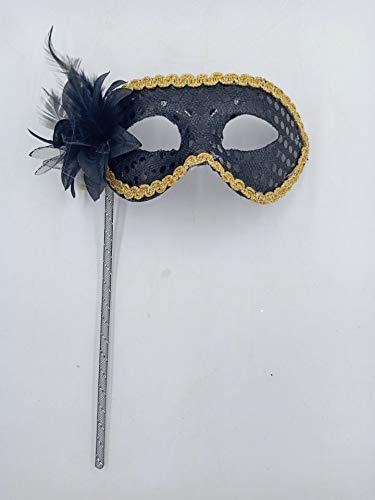 Black Gloss Mask on Stick with Flower Detail