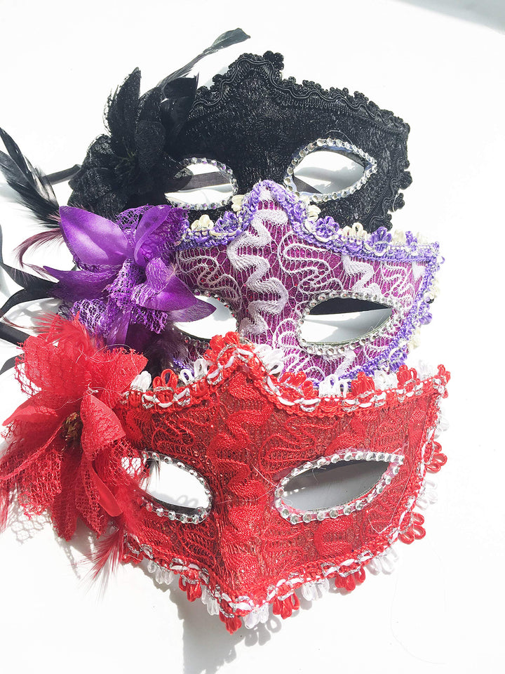 Pack 6 Red Glitter Carnival Costume Masquerade Party Favor Mask Dance Mardi Gras