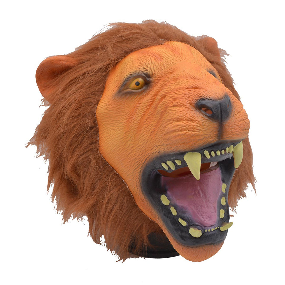 Latex Animal Head Mask Mouth Open Lion Halloween Party Costumes Decorations