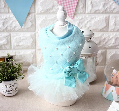 Dog Clothing Blue Dress with Pearls Bow Wow Beauty Shoppe