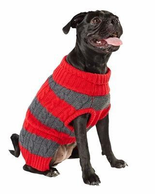 Dog Sweater Dog Sweater | Striped Cable Knit | Red & Grey Hotel Doggy