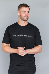 Human Apparel Typewriter Tee, Men's Black Dog People Are Cool