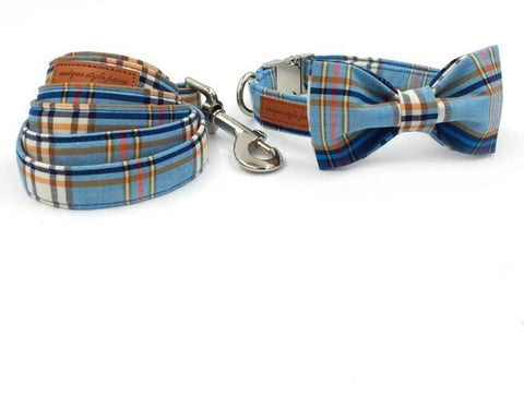 Pet Collars Dog Collar | Blue Plaid Bow Wow Beauty Shoppe