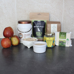 Ingredients in our fresh Apple & Organic Cheese Dog Biscuits