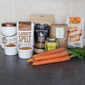 Ingredients for our Fresh Carrot & Ginger Dog Biscuits