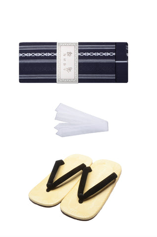 Men obi belt and Setta  sandals set : Blue