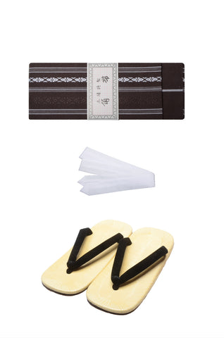 Men obi belt and Setta  sandals set : Brown