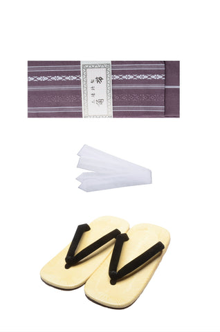 Men obi belt and Setta  sandals set : Purple