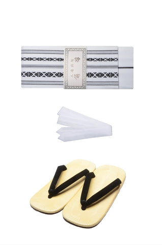 Men obi belt and Setta  sandals set : White