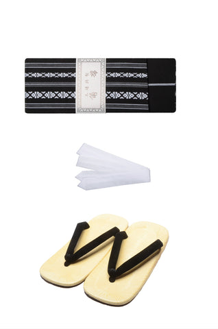 Men obi belt and Setta  sandals set : Black