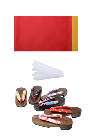 Obi belt and geta sandals set : Plain / Red and Gold