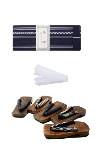 Men obi belt and geta sandals set : Blue