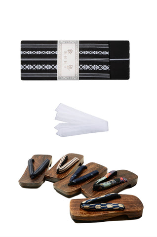 Men obi belt and geta sandals set : Black