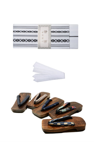 Men obi belt and geta sandals set : White
