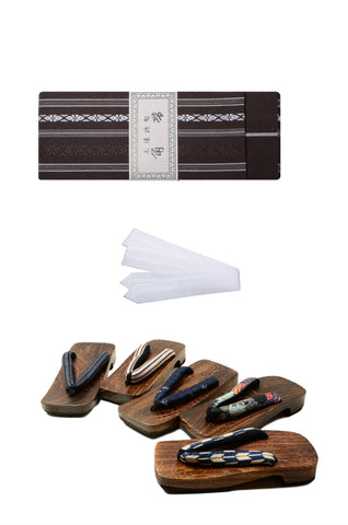 Men obi belt and geta sandals set : Brown