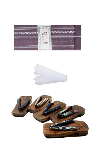 Men obi belt and geta sandals set : Purple