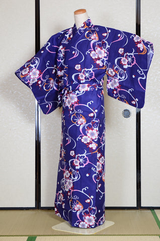 Yukata for indoor use / sakura :EM004-Indigo
