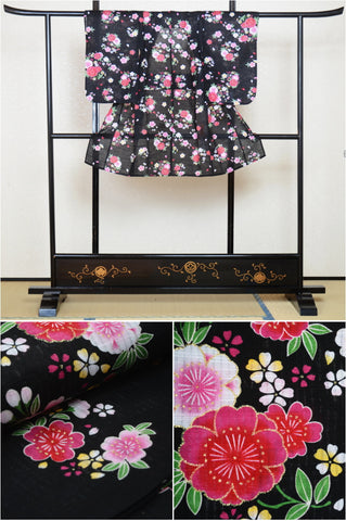Girls yukata and  obi belt set / GY #16 (5-6)