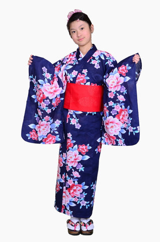 Girls yukata and  obi belt set / GY #61 (11-12)