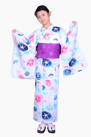 Girls yukata and  obi belt set / GY #62 (13-14)