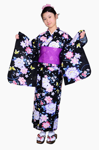 Girls yukata and  obi belt set / GY #63 (13-14)