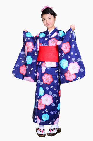 Girls yukata and  obi belt set / GY #64 (11-12)