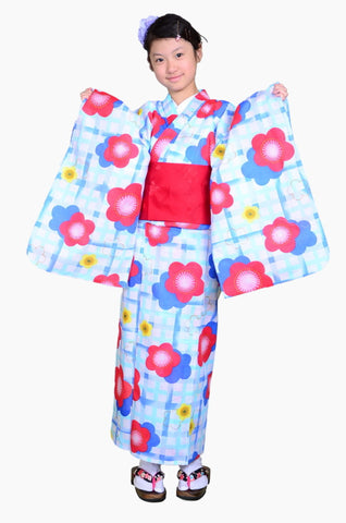 Girls yukata and  obi belt set / GY #65 (13-14)