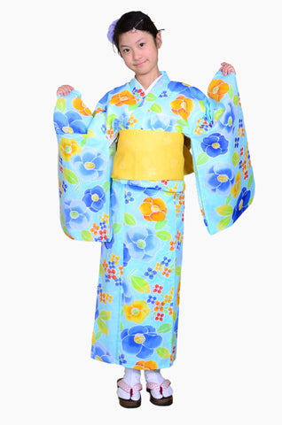 Girls yukata and  obi belt set / GY #66 (13-14)