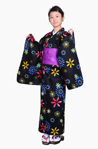 Girls yukata and  obi belt set / GY #67 (13-14)