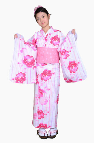 Girls yukata and  obi belt set / GY #68 (13-14)