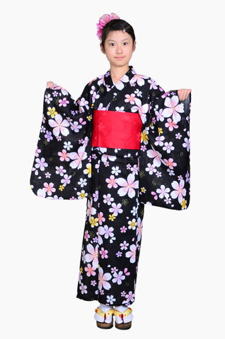 Girls yukata and  obi belt set / GY #69 (13-14)
