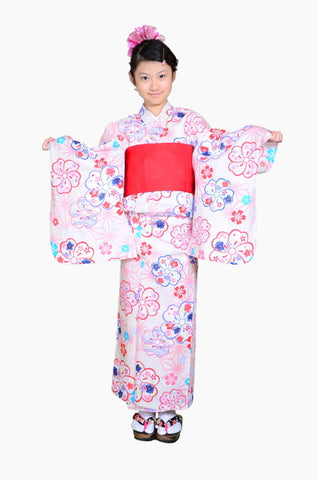 Girls yukata and  obi belt set / GY #70 (13-14)