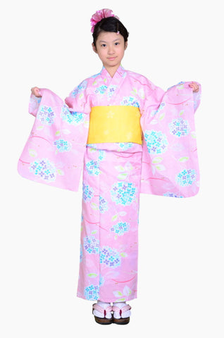 Girls yukata and  obi belt set / GY #71 (11-12)
