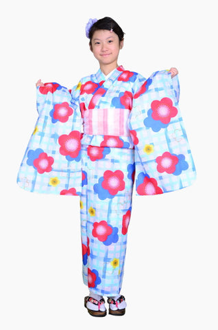 Girls yukata and  obi belt set / GY #52 (9-10)