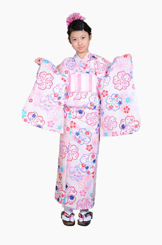 Girls yukata and  obi belt set / GY #54 (9-10)