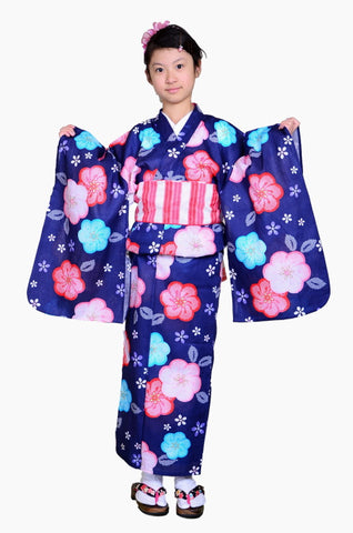 Girls yukata and  obi belt set / GY #51 (9-10)
