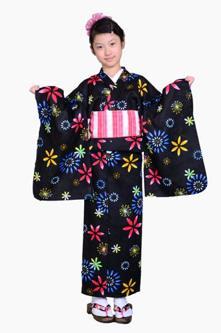 Girls yukata and  obi belt set / GY #53 (9-10)