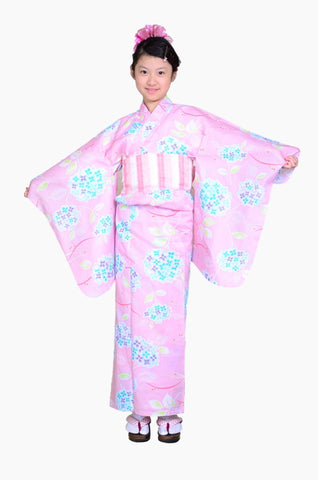 Girls yukata and  obi belt set / GY #55 (9-10)