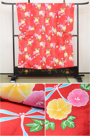 Girls yukata and  obi belt set / GY #05 (11-12)