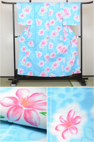 Girls yukata and  obi belt set / GY #04 (13-14)