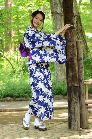 Yukata and obi and Geta set / D #90