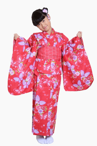 Girls yukata and  obi belt set / GY #01 (9-10)