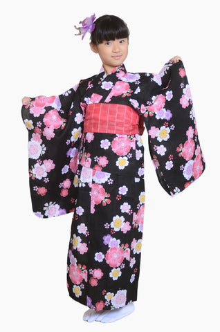 Girls yukata and  obi belt set / GY #04 (7-8)