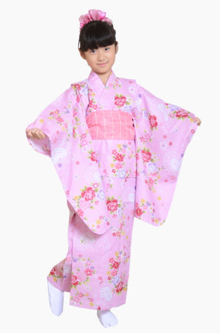 Girls yukata and  obi belt set / GY #03 (9-10)