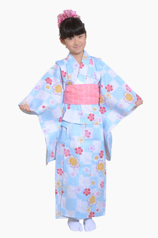 Girls yukata and  obi belt set / GY #02 (9-10)
