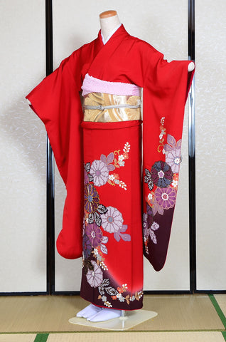 Long-sleeved kimono 6 items set / Furisode / FK#1128