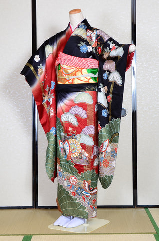 Long-sleeved kimono 6 items set / Furisode / FK#1-234