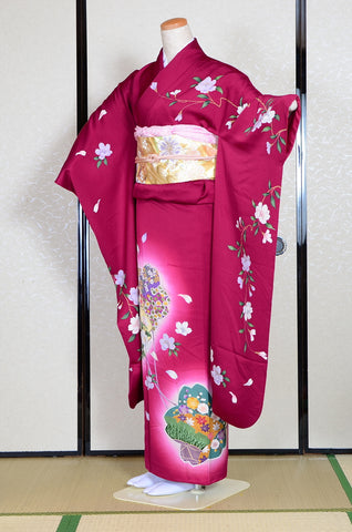 Long-sleeved kimono 6 items set / Furisode / FK#1082